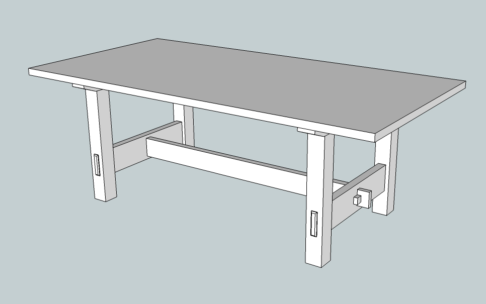 Trestle dining room table plans woodideas for Building a trestle dining table