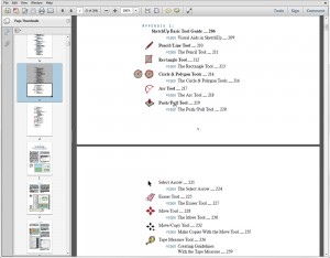 "Entries in the table of contents in ""Building Blocks of SketchUp"" are active links."