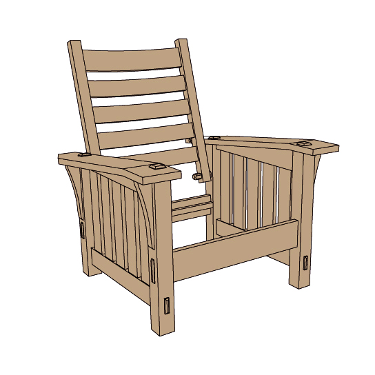 Stickley no 369 slant arm morris chair plans for Chair design drawing