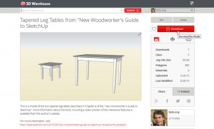 "Model of table from ""New Woodworker's Guide to SketchUp"""