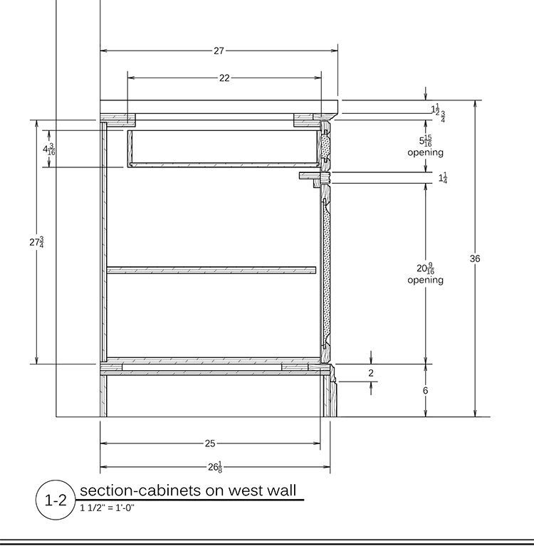 Cabinet millwork drawings for Kitchen cabinet section