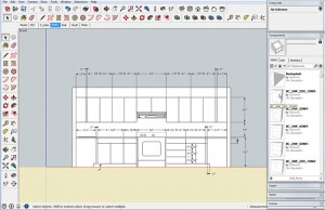 Saved cabinets can be inserted into a SketchUp model by accessing a collection through the components window.